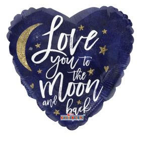 36 inch Love You To the Moon Foil Mylar Heart Balloon - Pkg
