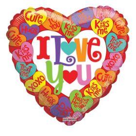 18 inch I Love You Conversation Hearts Foil Mylar Heart Balloon