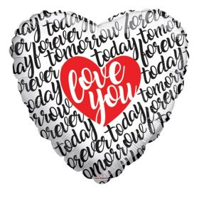 36 inch Love You Script Today Tomorrow Forever Foil Mylar Heart Balloon - Pkg