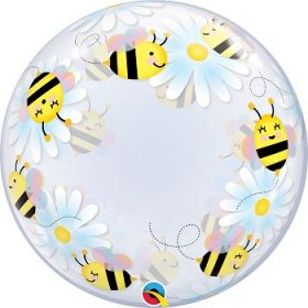 24 inch Qualatex Sweet Bee and Daisies Bubble Balloon