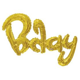 36 inch Gold Script Bday Shape Foil Letter Balloon - AIR FILL