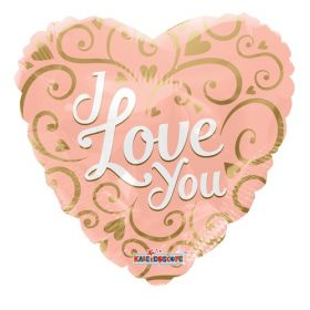 18 inch Kaleidoscope I Love You Script Rose Gold Foil Heart Balloon - flat