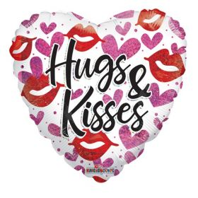 18 inch Hugs and Kisses Holographic Foil Mylar Heart Balloon
