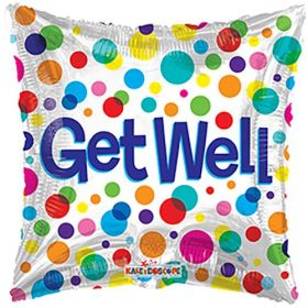 18 inch Get Well Dots Foil Mylar Square Balloon