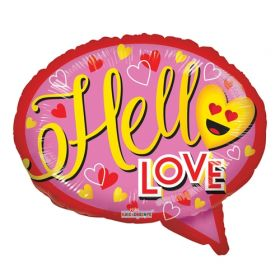 18 inch Kaleidoscope Hello Love Thought Bubble Foil Balloon - flat