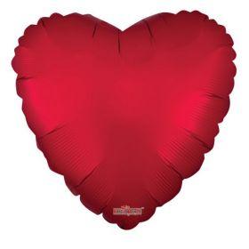 18 inch Matte Red Heart Foil Balloons - flat