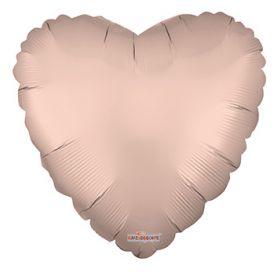 18 inch Matte Rose Gold Heart Foil Balloons - flat