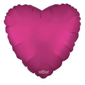 18 inch Matte Hot Pink Heart Foil Balloons - flat