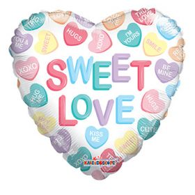 18 inch Sweet Love Conversation Hearts Gellibean Heart Balloon - flat