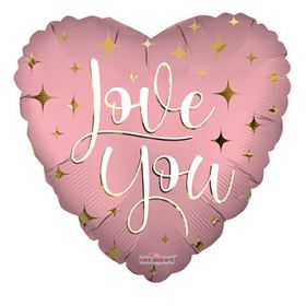 18 inch Love You Sparkles Matte Foil Mylar Heart Balloon - flat