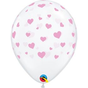 11 inch Qualatex Random Hearts Around Clear Latex Balloons - 50 count
