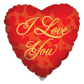 18 inch Kaleidoscope I Love You Script Red Foil Heart Balloon - flat