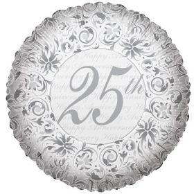 18 inch Foil Mylar Circle Happy 25th Anniversary Balloon