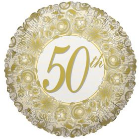 18 inch Foil Mylar Circle Happy 50th Anniversary Balloon