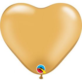 6 inch Qualatex Gold Heart Shape Latex Balloons - 100 count