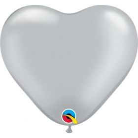6 inch Qualatex Silver Heart Shape Latex Balloons - 100 count