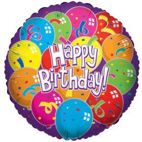 18 inch Foil Mylar Birthday Lots Of Balloons Circle Balloon - Flat