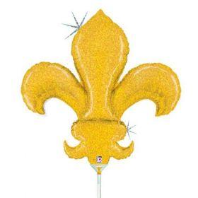 14 inch Betallic Fleur de Lis Shape Foil Balloon - Flat