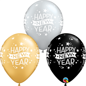 Qualatex 11 inch Happy New Year Confetti Dots Special Assorted Latex Balloons - 50 count