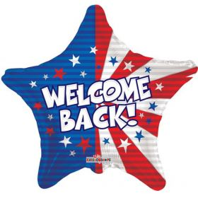 18 inch Welcome Back Flag Foil Mylar Patriotic Star Balloon