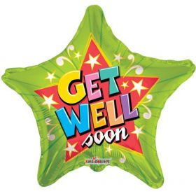 18 inch Get Well Green Star Foil Mylar Balloon