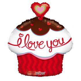 18 inch I Love You Cupcake Shape with Heart Foil Mylar Heart Balloon