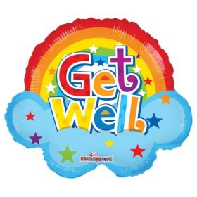 18 inch Get Well Rainbow Shape Foil Mylar Balloon