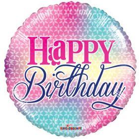 18 inch Birthday Girly Colors Circle Balloon - Flat