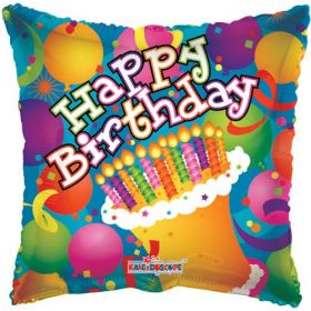 18 inch Birthday Balloons & Cake Circle Balloon - Flat