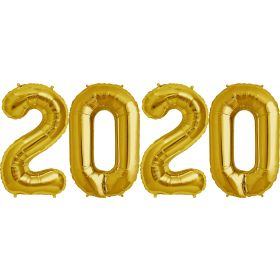 34 inch Gold Foil 2020 Number Balloon Set
