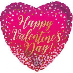 18 inch Happy Valentine's Day Confetti Dots Foil Mylar Heart Balloon