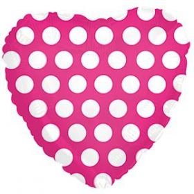 18 inch Foil Mylar Heart Hot Pink with White Polka Dots