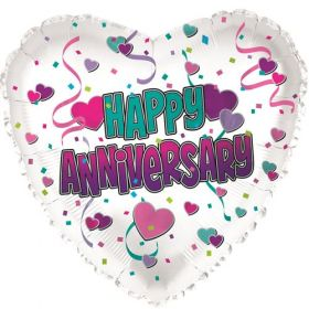 18 inch Foil Mylar Heart Happy Anniversary Hearts Balloon