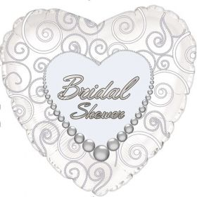 18 inch Foil Mylar Heart Bridal Shower Pearls Balloon