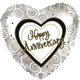 18 inch Foil Mylar Heart Happy Anniversary Swirls Silver Balloon