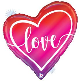 35 inch Betallic Opal Ombre Love Heart Foil Balloon - Pkg