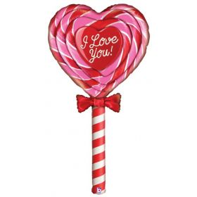 5 foot Betallic Love Lollipop Shape Foil Balloon - Pkg