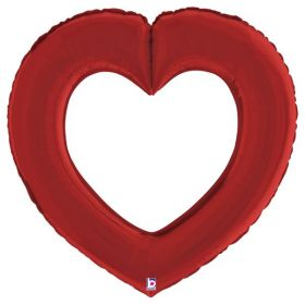 41 inch Betallic Red Linking Heart Foil Balloon - Pkg