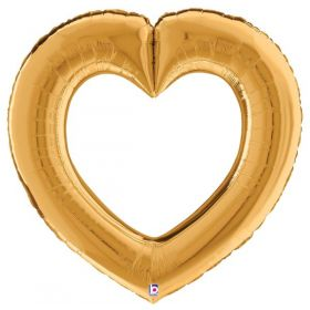 41 inch Betallic Gold Linking Heart Foil Balloon - Pkg