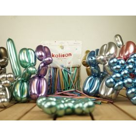 260 Kalisan Assorted Colors Mirror Chrome Latex Balloons - 50ct