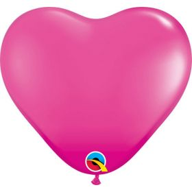 6 inch Qualatex Wild Berry Heart Shape Latex Balloons - 100 count