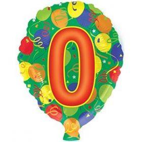 18 inch Foiltex Latex Shape Foil #0 Birthday Balloon - Flat