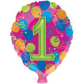 18 inch Foiltex Latex Shape Foil #1 Birthday Balloon - Flat
