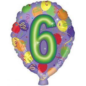 18 inch Foiltex Latex Shape Foil #6 Birthday Balloon - Flat