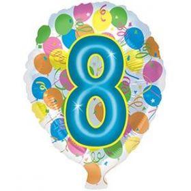 18 inch Foiltex Latex Shape Foil #8 Birthday Balloon - Flat
