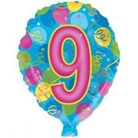 18 inch Foiltex Latex Shape Foil #9 Birthday Balloon - Flat