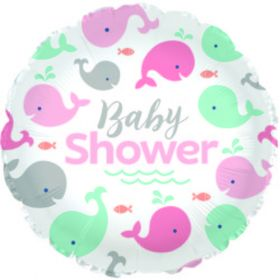 18 inch Baby Shower Lil Spout Pink Circle Foil Mylar Balloon