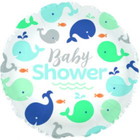 18 inch Baby Shower Lil Spout Blue Circle Foil Mylar Balloon