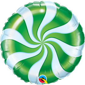 Qualatex 18 inch Foil Mylar Green Candy Swirl Round Balloon