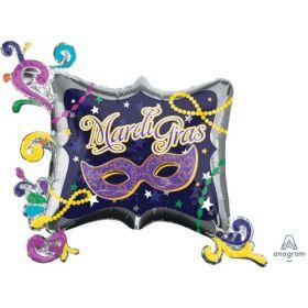 34 inch Anagram Mardi Gras Frame Shape Foil Balloon - Pkg